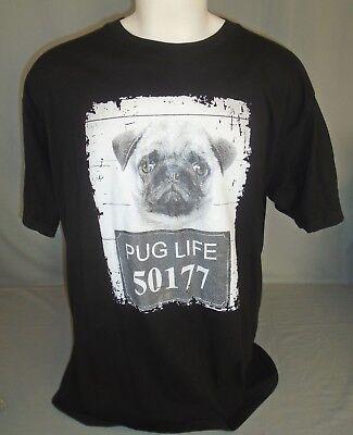 Pug Life Dog Breed Short Sleeve Black T-Shirt Size 2XL XXL Breed Black Pug T-shirt