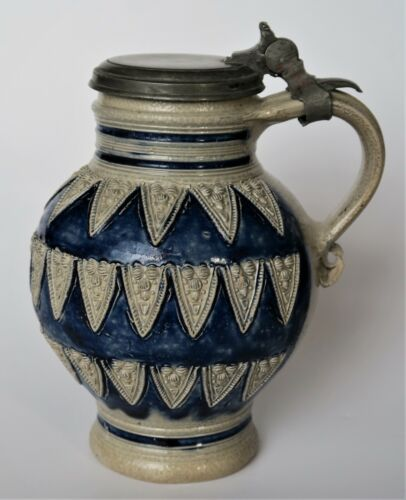 A good and interesting Antique Westerwald Stoneware jug stein, 1660-1680...