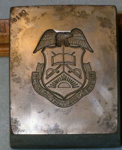 1930s WESTERN MILITARY ACADEMY 7 Lb Stamping Die ALTON IL * MC Lilley