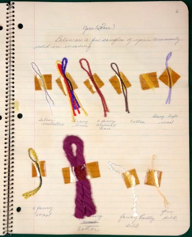 Vintage Weave Sample Folio Yarn Linen School Project Weaving Joan E Butler 1930s