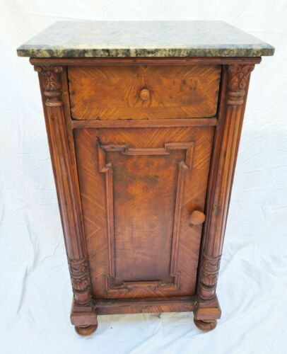 Antique Marble Top Night Stand / End Table with Column Accents LA Area