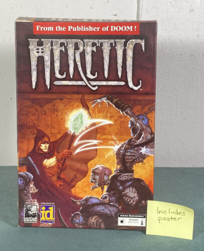 Computer Games - Heretic Shareware PC Computer Video Game w/ Manual & Box & Poster