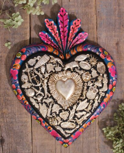 Large Love Token Heart Hand Painted Flowers Milagros Mexican Folk Art Michoacán