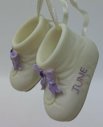 Lefton Bisque Porcelain Baby Shoes Christmas Ornament June Birthstone MIB
