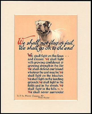 BRITISH BULLDOG WINSTON CHURCHILL PATRIOTIC WARTIME SPEECH MOUNTED DOG PRINT