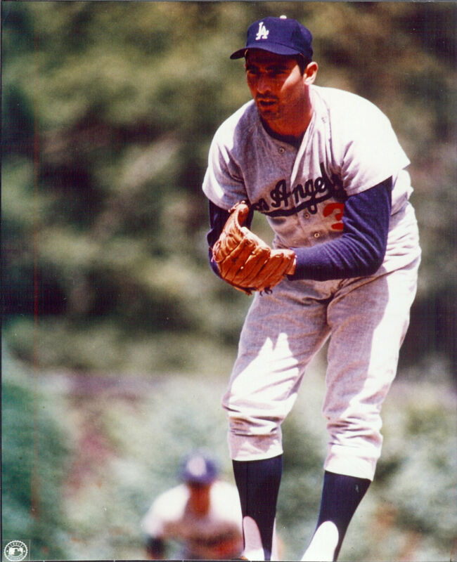 Los Angeles  Dodgers Sandy Koufax  8x10  outstanding pitching color photo