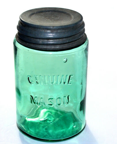 1800s DARK GREEN GENUINE MASON Collectors Jar in Great Condition!