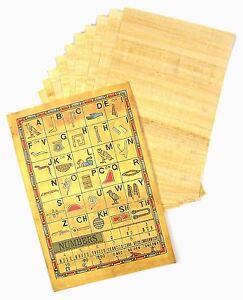 10 SHEETS GENUINE EGYPTIAN BLANK PLAIN PAPYRUS PAPER & HIEROGLYPHICS INFO SCROLL