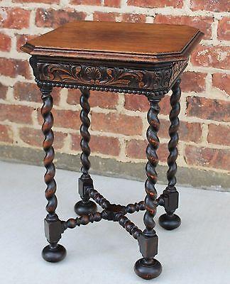 Antique French Oak Renaissance Revival Barley Twist PETITE Tea Wine End Table