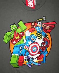 Marvel-Comics-Avengers-Pixels-Hulk-Spider-man-Iron-Man-Thor-T-Shirt-New-Tags-Lg