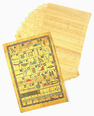 10 Sheets GENUINE Egyptian Plain PAPYRUS Paper Blank Sheet + Hieroglyphic info