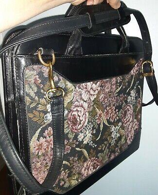 Franklin Covey Q Vintage Monarch Flowers Tapestryblack Leather Handles Binder