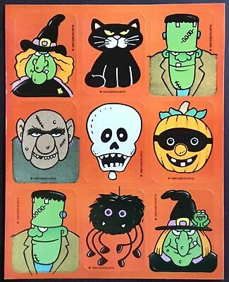 Sheet of Vintage Stickers - Gibson Greetings - Halloween - Dated 1989](Date Of Halloween)