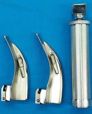 Laryngoscope Mac Set Of 2 Blades 12 1 Handles Emt Anesthesia Intubation