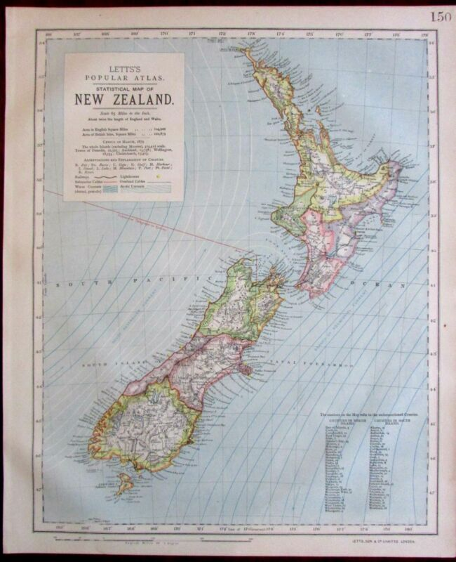 New Zealand 1883 Lett's map shows ocean currents submarine telegraph lines