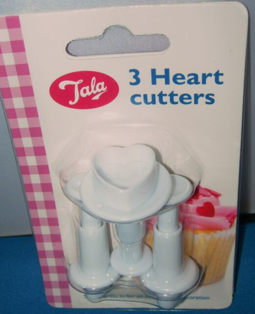 TALA 3 SMALL HEART SHAPED PLUNGER CUTTER FONDANT SUGARPASTE MARZIPAN CLAY ICING