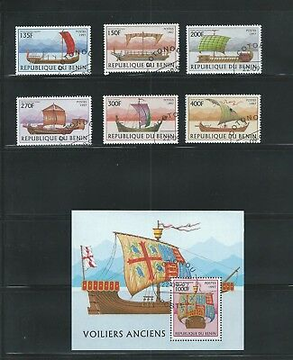 Benin Scott # 1040-1046 Used/CTO Sailing Vessels with S/S