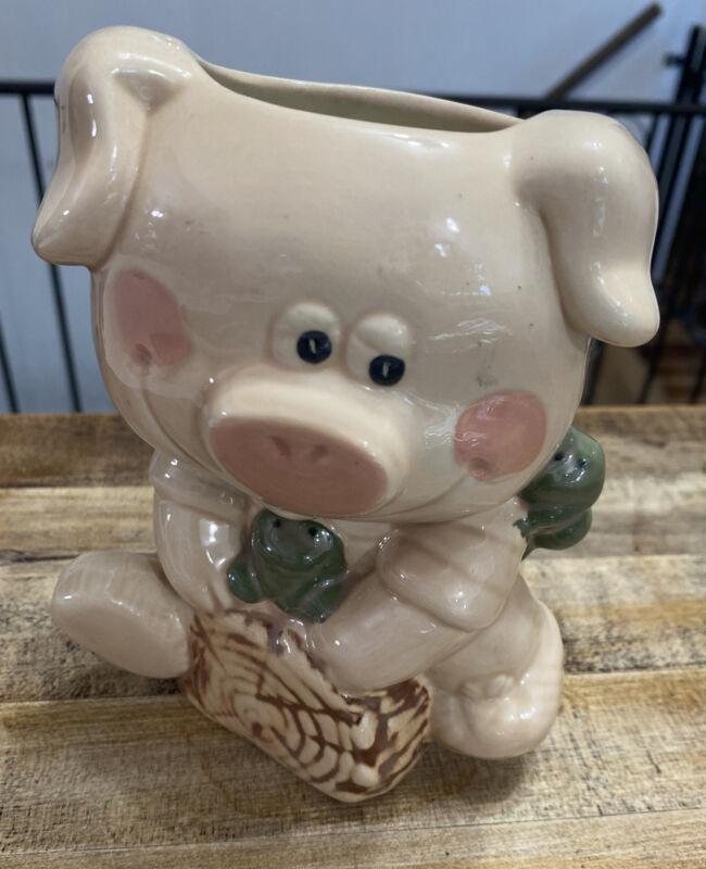 "Pig Frog Log Planter 6"" tall 4"" wide"