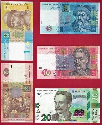 5 UNC UKRAINE BANKNOTES 1 Hr 2014, 2 Hr 2013, 5 Hr 2015, 10 Hr 2015, 20 Hr 2016