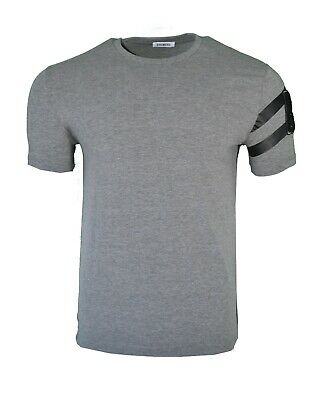 BIKKEMBERGS STRIPE SLEEVE B LOGO T-SHIRT TOP GREY & BLACK RARE - Sleeve Grey Stripe Shirt