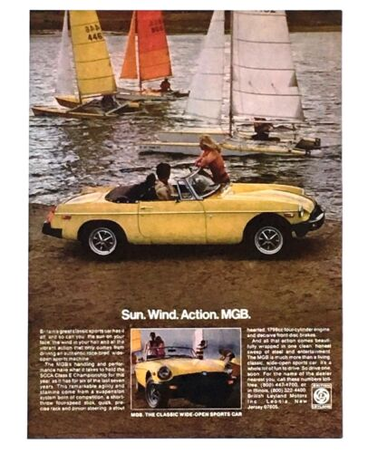 1978 MGB Convertible Advertisement Yellow Car Sun Wind Action Sailboats Print AD