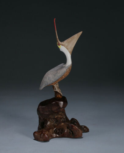 PELICAN Laughing by JOHN PERRY 7in tall Handpainted sculpture New Direct from
