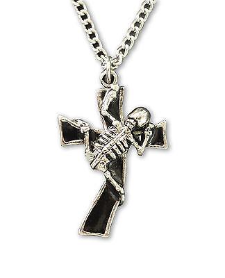 Skeleton Climbing Black Cross Pewter Pendant Necklace NK-578