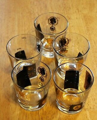 Cera Glass GOLD/BLACK U.S. DOLLAR COIN - (5) OLD FASHIONED LOW BALL TUMBLERS