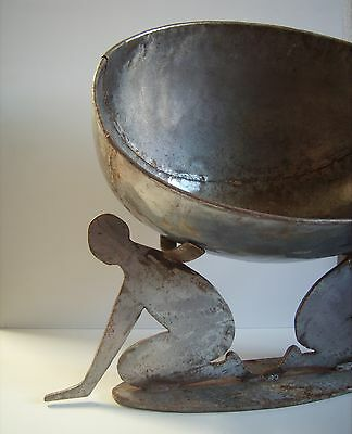 Center Iron Bowl (Vintage HUGE Industrial Metal Iron Nude Ladies Center Bowl Folk Art)