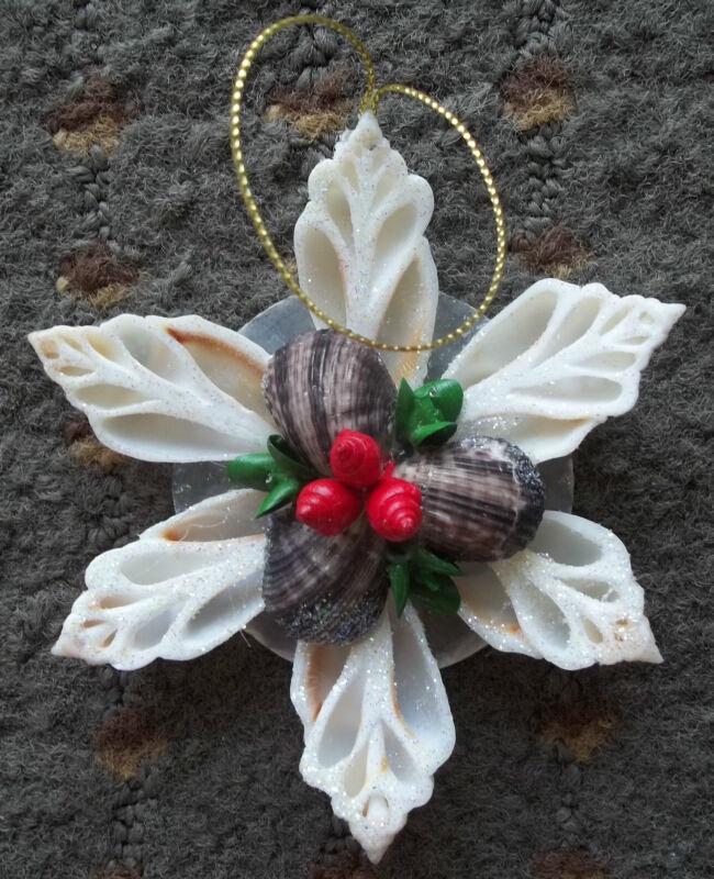 Nautical Sea Shell Christmas Holly Star Flower Chula Capiz Shell Ornament