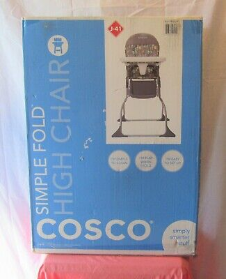 COSCO SIMPLE FOLD FULL SIZE BABY HIGH CHAIR WITH ADJUSTABLE TRAY GRAY ZORI NEW