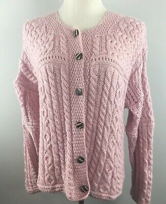 Vtg Carraig Donn Cardigan M Medium Pink Sweater 100% Merino Wool Ireland