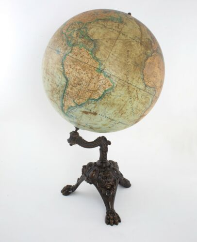 "1880 LARGE 14"" LEBEGUE FRENCH  ANTIQUE TERRESTRIAL GLOBE MAPPEMONDE"