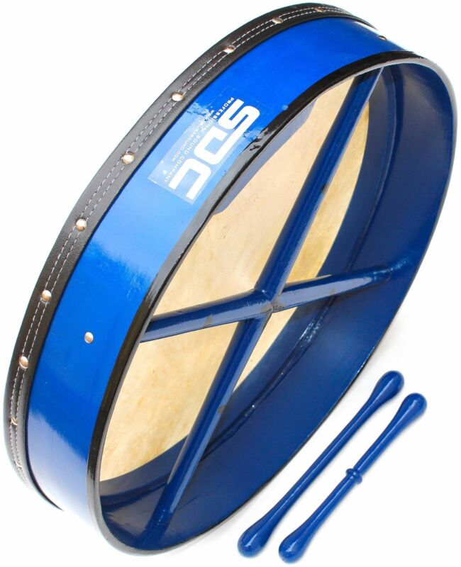 "18"" INCH BLUE IRISH BODHRAN DRUM + CASE + 2 Beaters Tippers DEURA SDC Brand"