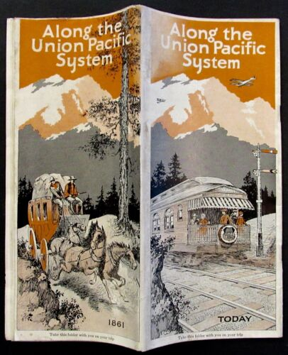 ALONG THE UNION PACIFIC SYSTEM ORIGINAL 1932 RAILROAD BROCHURE MAP ILLUSTRATIONS