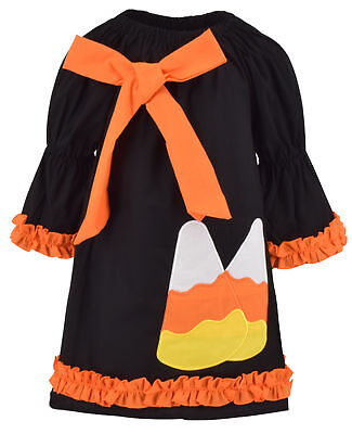 Children Clothing Boutiques (Girls Candy Corn Halloween Dress with Bow Boutique Toddler Kids Clothes)
