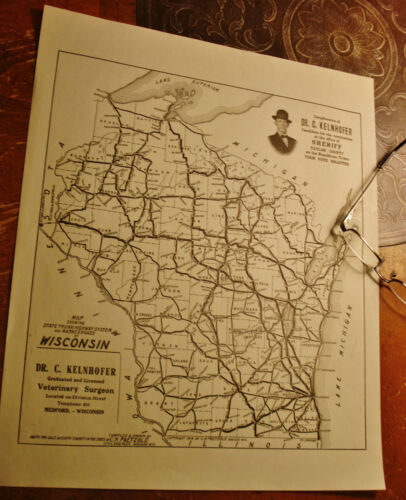Antique Medford WI Republican POSTER MAP