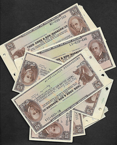 THOMAS COOK & SON TRAVELERS CHECK $20.00 UNISSUED  UNC NEW YORK AGENCY ONE ONLY
