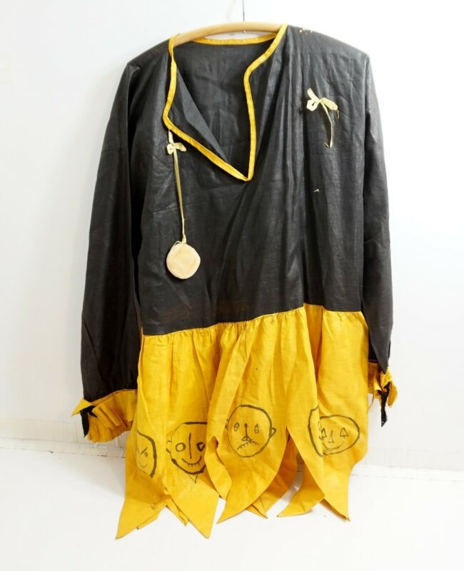 ANTIQUE / VINTAGE HALLOWEEN ADULT SIZED COSTUME ~ DRAWN FACES ON BOTTOM