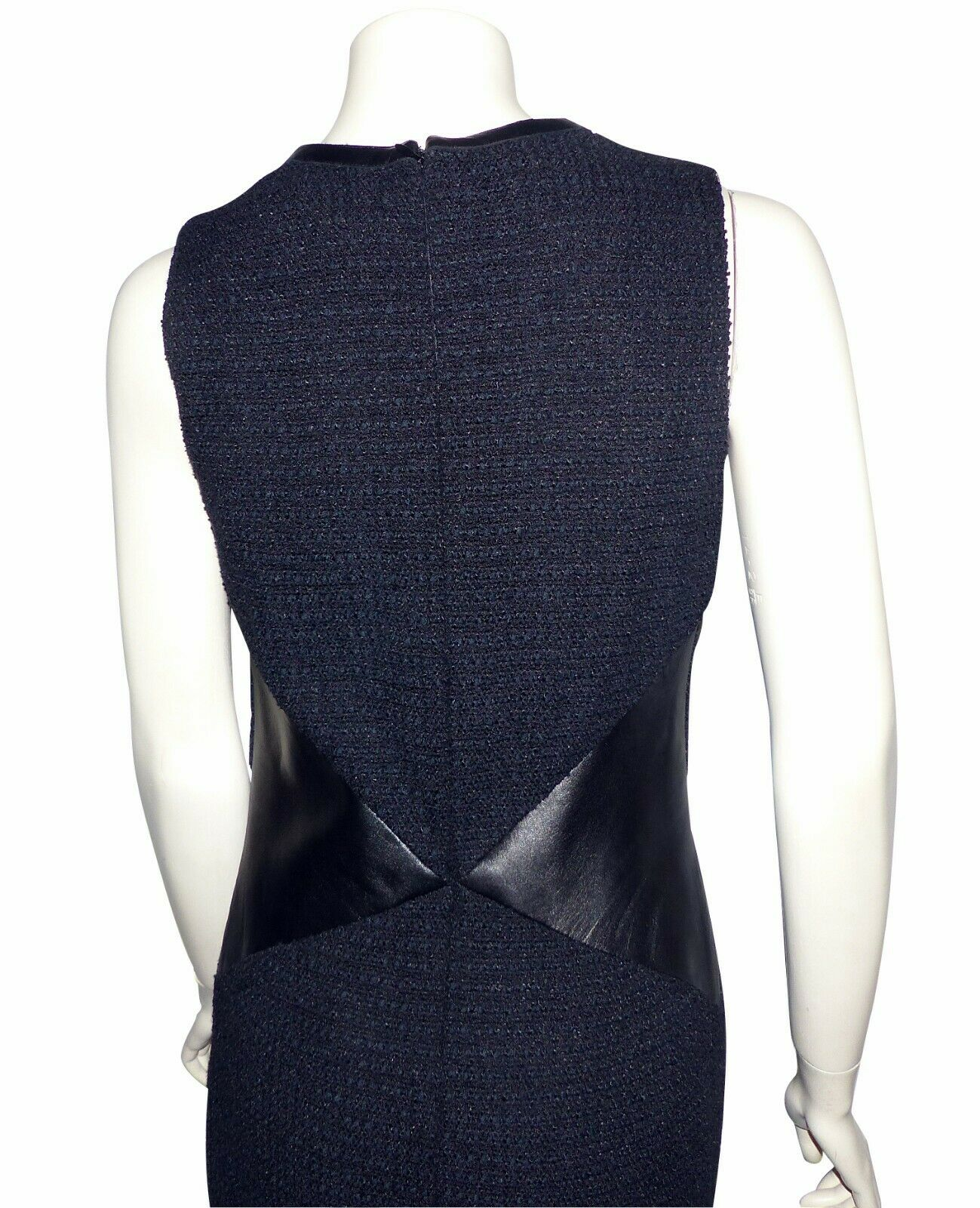 Chanel - robe noire tweed tissÉe et cuir - black chanel dress