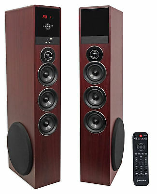 "Rockville TM150C Cherry Powered Home Theater Tower Speakers 10"" Sub/Blueooth/USB"