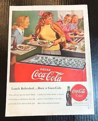 1948 Vintage Coke Coca Cola Soda Original Magazine Ad Girls Boy Cafeteria Cooler