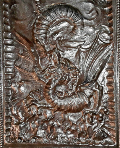 "1887 Gothic Winged Dragon Fireplace Iron Insert Surround Pair  (29.25"" x 15"" ea)"