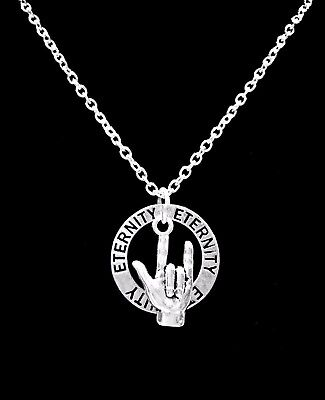 Sign Language Necklace Hand Symbol Jewelry I Love You Eternity Forever Charm