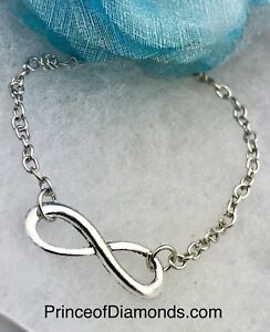Silver coloured infinity adjustable necklace