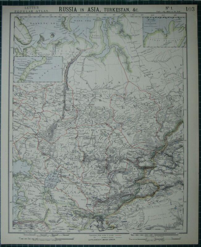 1883 LETTS MAP ~ RUSSIA IN ASIA TURKESTAN TOMSK SIRDARIA NOVA ZEMLYA