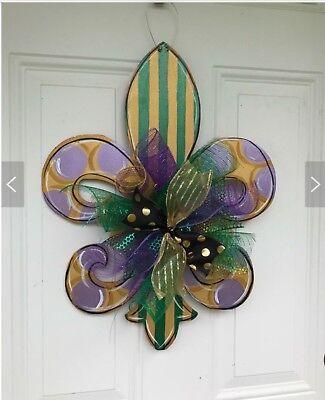 Mardi Gras wreath,Mardi Gras door hanger,Fleur de lis door decor,Mardi Gras deco