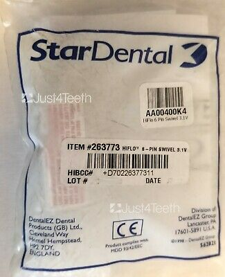 Star Dental 6 Pin Swivel Connector New In Package With Free Led Light 263773