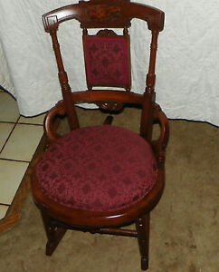 Carved-Burl-Walnut-Rocker-Rocking-Chair-R87