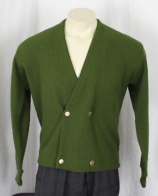 Campus VTG USA Orlon Double Breasted Cardigan Button Sweater Green Mens Medium